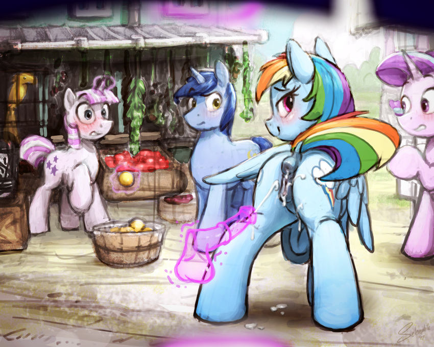 rainbow shimmer dash sunset and Scanty and kneesocks